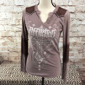 Affliction Rhinestone Cross Long Sleeve T-shirt